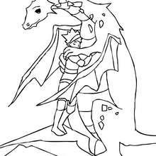 dibujo de dragon y dragonero acariciandose para colorear - Dibujos para Colorear y Pintar - Dibujos para colorear de FANTASIA - Dibujos para colorear DRAGONES - Dibujos de DRAGON Y DRAGONEROS para colorear
