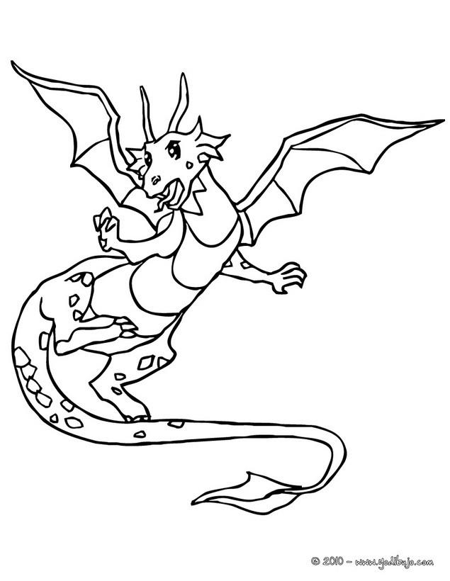 Dibujo para colorear : un dragon en vuelo