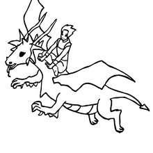 dibujo de un dragon y su dragonero volando para colorear - Dibujos para Colorear y Pintar - Dibujos para colorear de FANTASIA - Dibujos para colorear DRAGONES - Dibujos de DRAGON Y DRAGONEROS para colorear