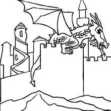Dibujo para colorear : dragon aterrizado en un castillo