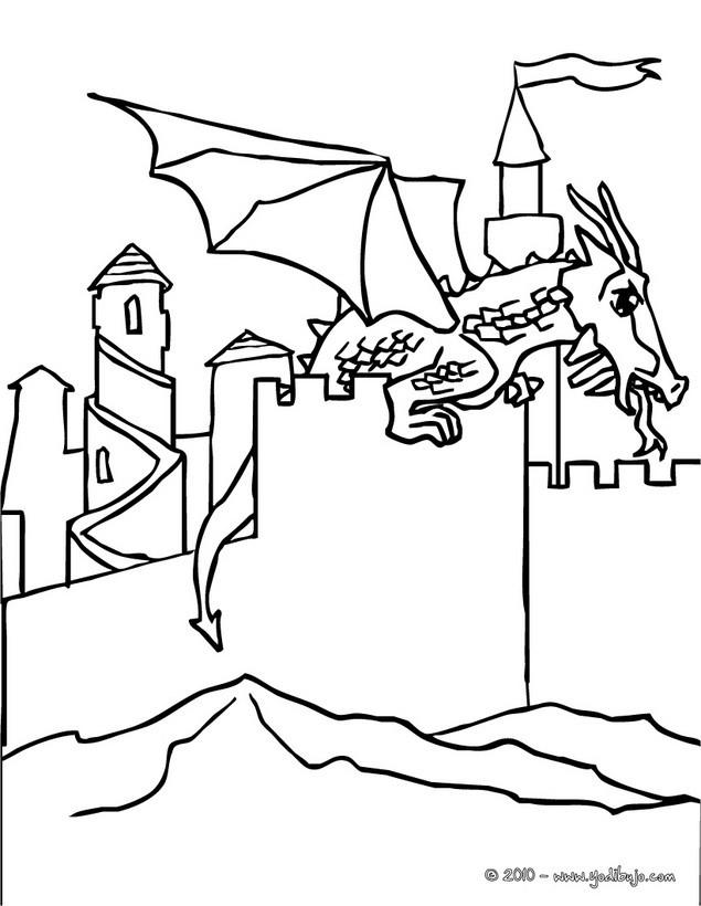 Dibujos para colorear dragon aterrizado en un castillo - es ...