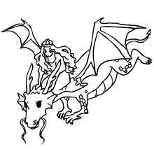 Dibujo de dragon con su dragonera para colorear - Dibujos para Colorear y Pintar - Dibujos para colorear de FANTASIA - Dibujos para colorear DRAGONES - Dibujos de DRAGON Y DRAGONEROS para colorear