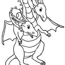 Dibujo para colorear : dragon de 2 cabezas