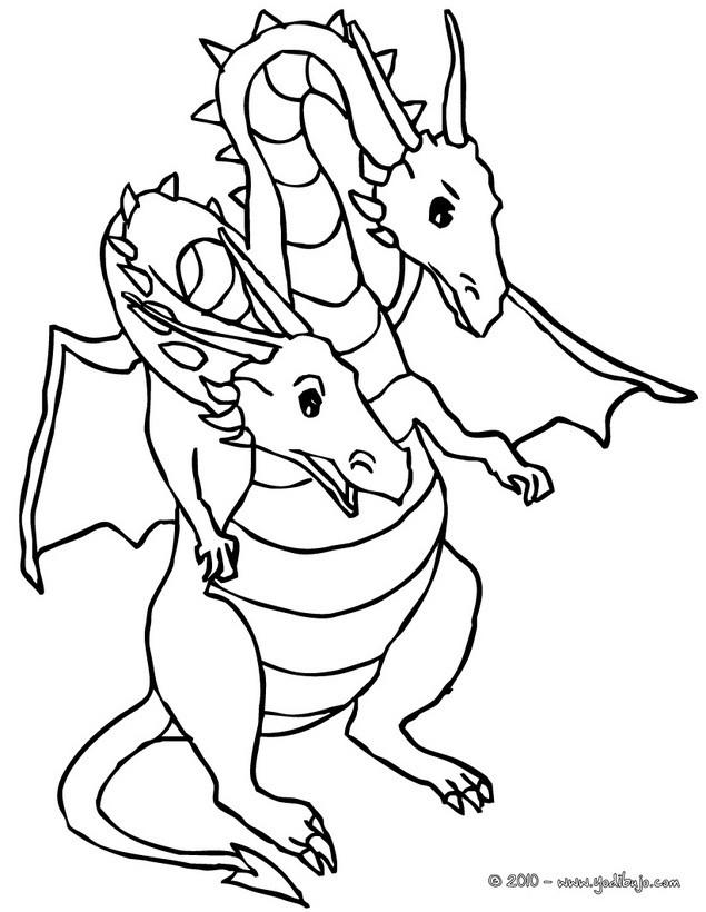 Dibujos para colorear dragon de 2 cabezas - es.hellokids.com