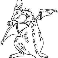 Dibujo para colorear : dragona con sus huevos