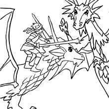 Dibujo para colorear un combate de dragones