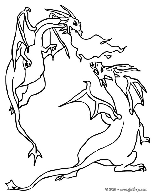 Dibujos para colorear combate de dragones - es.hellokids.com