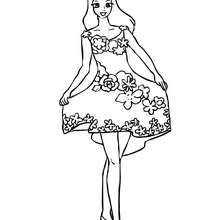 Dibujo para colorear hada con falda de flores - Dibujos para Colorear y Pintar - Dibujos para colorear de FANTASIA - Dibujos para colorear HADAS - Dibujos para colorear HADAS FLORES