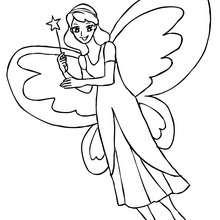 Dibujo para colorear hada con alas de mariposa - Dibujos para Colorear y Pintar - Dibujos para colorear de FANTASIA - Dibujos para colorear HADAS - Dibujos de ALAS DE HADAS para colorear