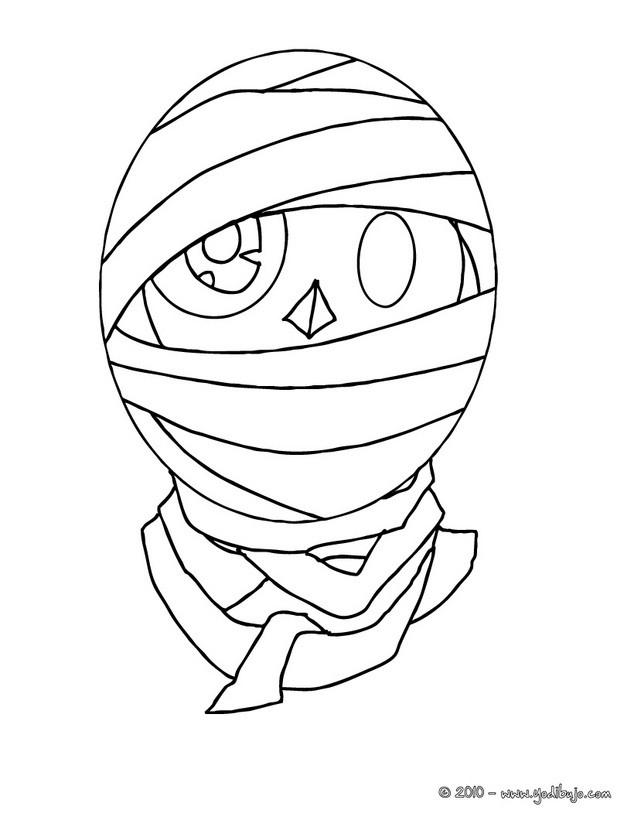 Dibujo para colorear : una cara de momia  halloween
