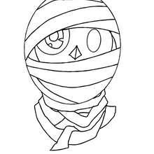Dibujo de una cara de momia para colorear halloween - Dibujos para Colorear y Pintar - Dibujos para colorear FIESTAS - Dibujos para colorear HALLOWEEN - Dibujos para colorear MONSTRUOS HALLOWEEN