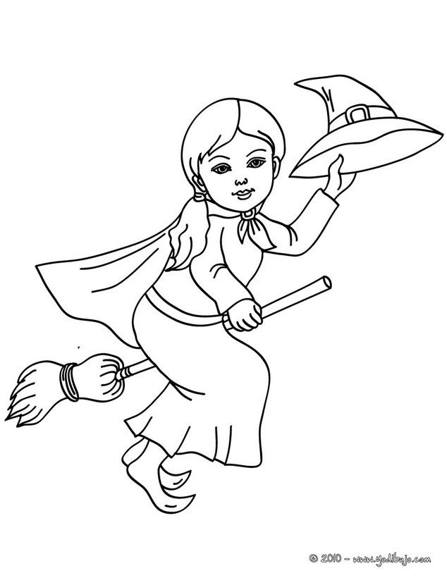 Dibujos para colorear bruja volando para halloween - es.hellokids.com