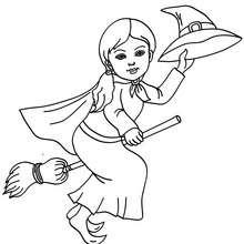 Dibujo para colorear : bruja volando para halloween