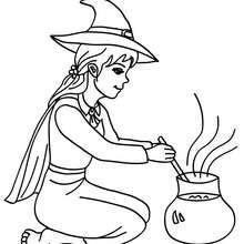 Dibujo de bruja preparando una pocima magica de halloween para colorear - Dibujos para Colorear y Pintar - Dibujos para colorear FIESTAS - Dibujos para colorear HALLOWEEN - Dibujos de BRUJAS para colorear - Dibujo POCIMA DE BRUJA para colorear