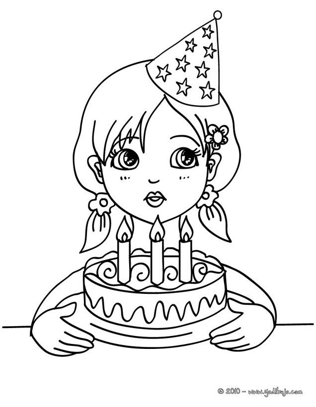 Dibujos para colorear una chica soplando las velas de cumpleaños ...