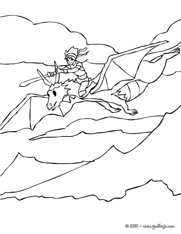 Dibujos para colorear dragon atacado por caballeros - es.hellokids.com