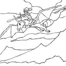 Dibujo para colorear : un dragonero volando con su dragon
