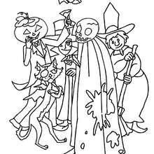 Dibujo de una banda de monstruos de halloween para colorear - Dibujos para Colorear y Pintar - Dibujos para colorear FIESTAS - Dibujos para colorear HALLOWEEN - Dibujos para colorear MONSTRUOS HALLOWEEN