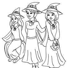 Dibujo de 3 jovenes brujas para colorear halloween - Dibujos para Colorear y Pintar - Dibujos para colorear FIESTAS - Dibujos para colorear HALLOWEEN - Dibujos de BRUJAS para colorear - Dibujos para colorear ONLINE BRUJAS