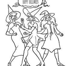 Dibujo para colorear un grupo de brujas bailando para halloween - Dibujos para Colorear y Pintar - Dibujos para colorear FIESTAS - Dibujos para colorear HALLOWEEN - Dibujos de BRUJAS para colorear - Dibujos para colorear ONLINE BRUJAS