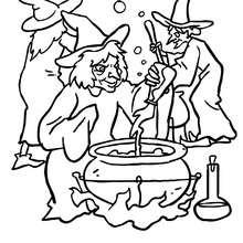 Dibujo para colorear grupo de brujas preparando una pocima magica - Dibujos para Colorear y Pintar - Dibujos para colorear FIESTAS - Dibujos para colorear HALLOWEEN - Dibujos de BRUJAS para colorear - Dibujo POCIMA DE BRUJA para colorear