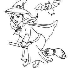 Dibujo para colorear una bruja feliz en su escoba - Dibujos para Colorear y Pintar - Dibujos para colorear FIESTAS - Dibujos para colorear HALLOWEEN - Dibujos de BRUJAS para colorear - Dibujos de BRUJA EN SU ESCOBA