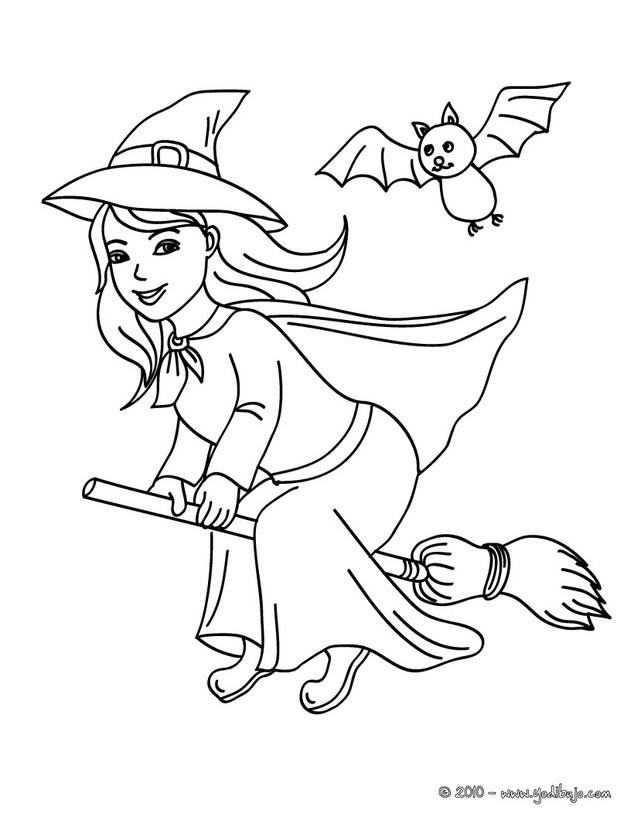 Dibujos para colorear una bruja feliz en su escoba - es ...