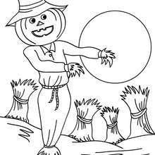 Dibujo espantapajaros para colorear halloween - Dibujos para Colorear y Pintar - Dibujos para colorear FIESTAS - Dibujos para colorear HALLOWEEN - Dibujos para colorear ESPANTAPAJAROS HALLOWEEN