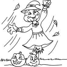 Dibujo espantapajaros de halloween para colorear - Dibujos para Colorear y Pintar - Dibujos para colorear FIESTAS - Dibujos para colorear HALLOWEEN - Dibujos para colorear ESPANTAPAJAROS HALLOWEEN