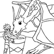 Dibujo para colorear : un dragonero que da de comer a su dragon