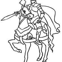 Dibujo para colorear : caballero adriestrando su caballo