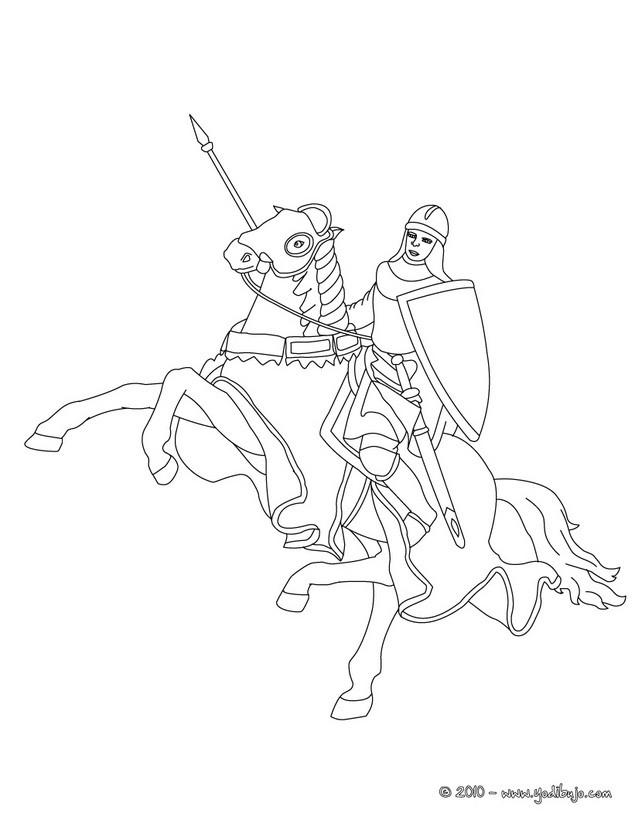 Dibujos para colorear un caballero y su caballo - es.hellokids.com