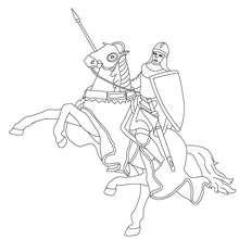Dibujo para colorear : un caballero y su caballo