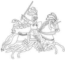 Dibujo para colorear un caballero a caballo - Dibujos para Colorear y Pintar - Dibujos para colorear de FANTASIA - Dibujos para colorear CABALLEROS - Dibujos para colorear ONLINE CABALLEROS