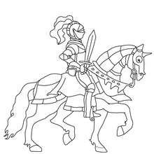 Dibujo para colorear : un caballero montando a caballo