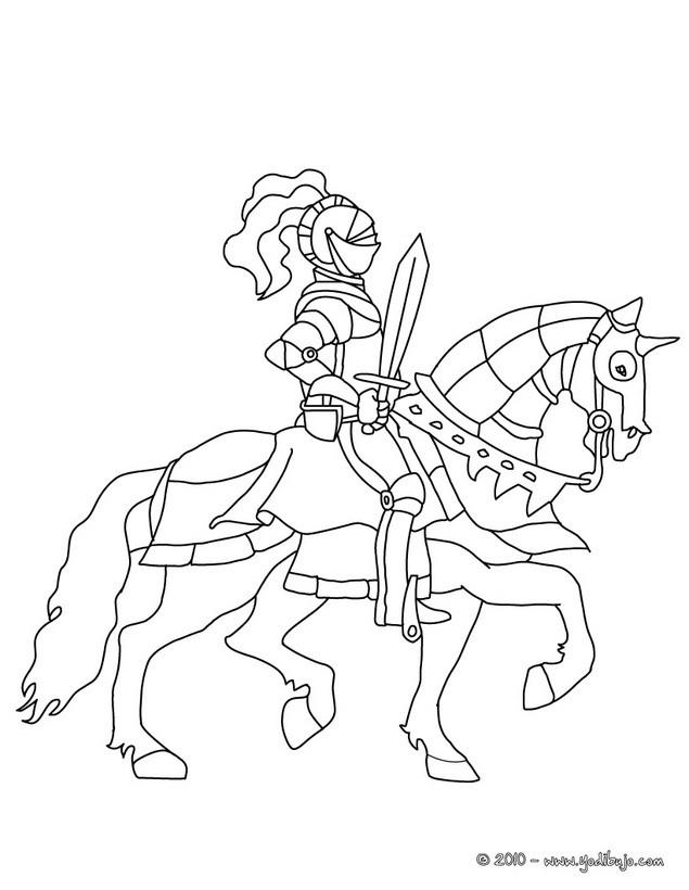 Dibujos para colorear un caballero montando a caballo - es.hellokids.com