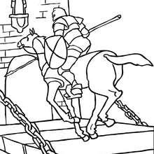 Dibujo de un caballero a caballo llegando a galope para colorear - Dibujos para Colorear y Pintar - Dibujos para colorear de FANTASIA - Dibujos para colorear CABALLEROS - Dibujos para colorear ONLINE CABALLEROS