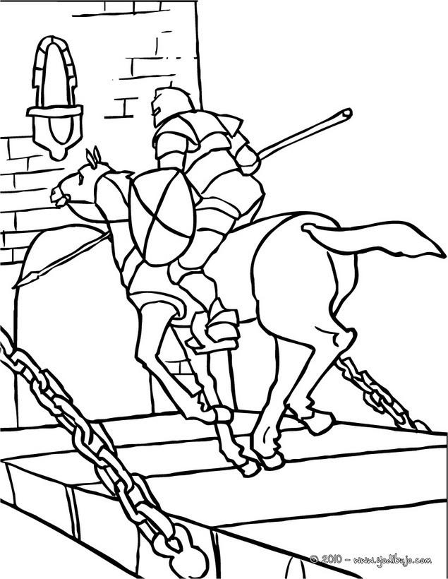 Dibujos para colorear un caballero a caballo llegando a galope - es ...