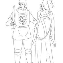 dibujo de un caballero salvando a una princesa para colorear - Dibujos para Colorear y Pintar - Dibujos para colorear de FANTASIA - Dibujos para colorear CABALLEROS - Dibujos para colorear CABALLEROS MEDIEVALES