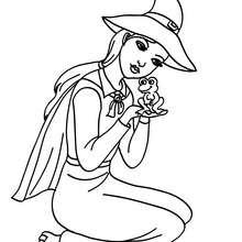 Dibujo de una bruja con una rana para colorear halloween - Dibujos para Colorear y Pintar - Dibujos para colorear FIESTAS - Dibujos para colorear HALLOWEEN - Dibujos de BRUJAS para colorear - Dibujo BRUJAS HALLOWEEN para colorear