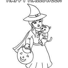 Dibujo de una bruja Happy Halloween para colorear - Dibujos para Colorear y Pintar - Dibujos para colorear FIESTAS - Dibujos para colorear HALLOWEEN - Dibujos de BRUJAS para colorear - Dibujos de CARTEL BRUJAS HAPPY HALLOWEEN para colorear