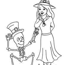Dibujo de una bruja con un esqueleto de halloween para colorear - Dibujos para Colorear y Pintar - Dibujos para colorear FIESTAS - Dibujos para colorear HALLOWEEN - Dibujos de BRUJAS para colorear - Dibujos de BRUJAS FEAS para colorear