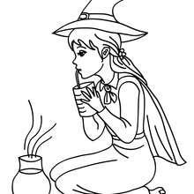 Dibujo de una bruja probando su pocima de halloween para colorear - Dibujos para Colorear y Pintar - Dibujos para colorear FIESTAS - Dibujos para colorear HALLOWEEN - Dibujos de BRUJAS para colorear - Dibujo POCIMA DE BRUJA para colorear