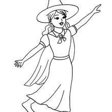 Dibujo de una bruja bailando para colorear - Dibujos para Colorear y Pintar - Dibujos para colorear FIESTAS - Dibujos para colorear HALLOWEEN - Dibujos de BRUJAS para colorear - Dibujo BRUJAS HALLOWEEN para colorear