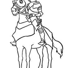 Dibujo de caballero en armadura con su caballo para colorear - Dibujos para Colorear y Pintar - Dibujos para colorear de FANTASIA - Dibujos para colorear CABALLEROS - Dibujos para colorear ARMADURA CABALLERO EDAD MEDIA