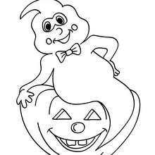 Dibujo para colorear : fantasma de halloween y calabaza