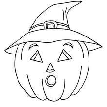 Dibujo para colorear : una calabaza bruja de halloween