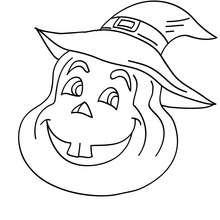 Dibujo para colorear : una calabaza sonirendo
