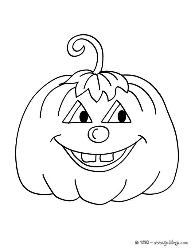 Dibujo para colorear  una calabaza redonda halloween