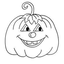 Dibujo para colorear : una calabaza redonda  halloween